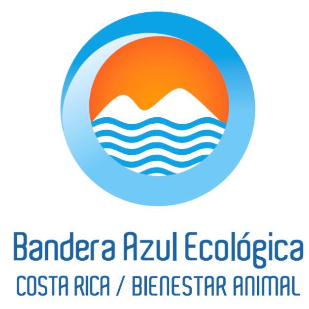circular blue white and orange logo used by Ecology Blue Flag program